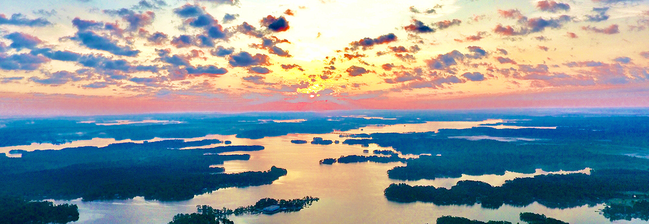 aerial lake martin sunset