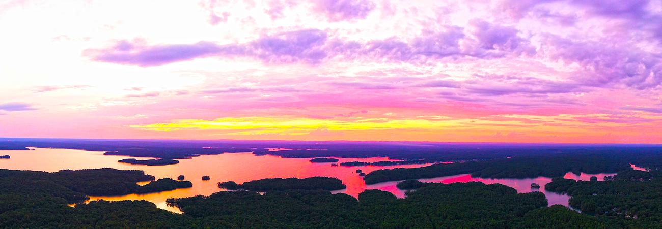 lake martin sunset aerial